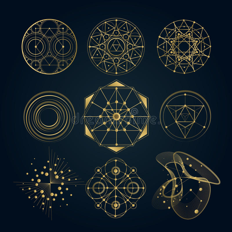 Sacred geometry forms, shapes of lines, logo stock illustration