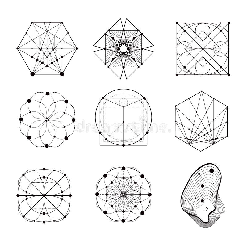 Sacred geometry forms. Shapes of lines, logo, sign, symbol. Geometric patterns. Geometry symbolic royalty free illustration