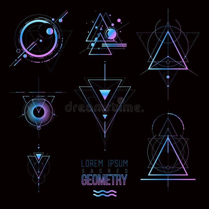 Sacred geometry forms, shapes of lines, logo, sign, symbol stock illustration