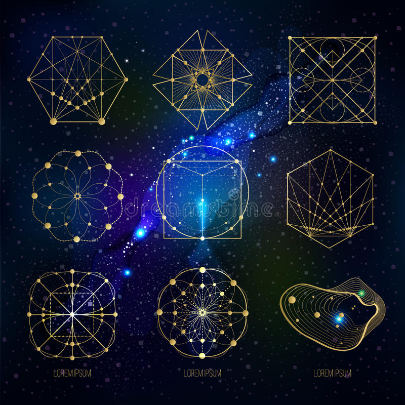 Sacred geometry forms on space background stock illustration