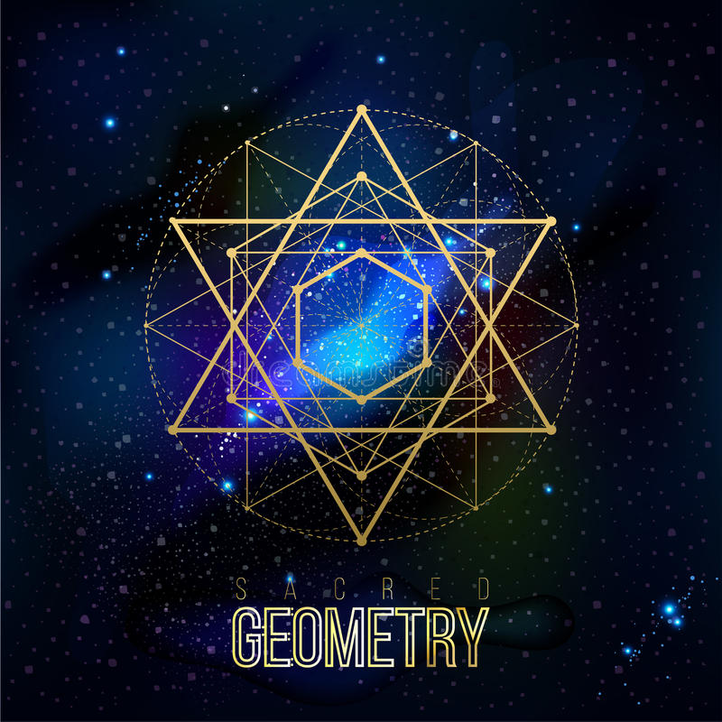 Line Shape Space : Sacred geometry forms on space background stock vector