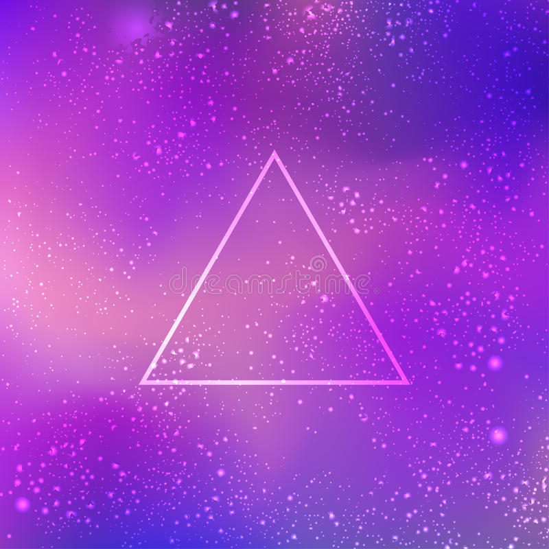 Sacred geometry forms on space background, shapes of lines, logo royalty free illustration
