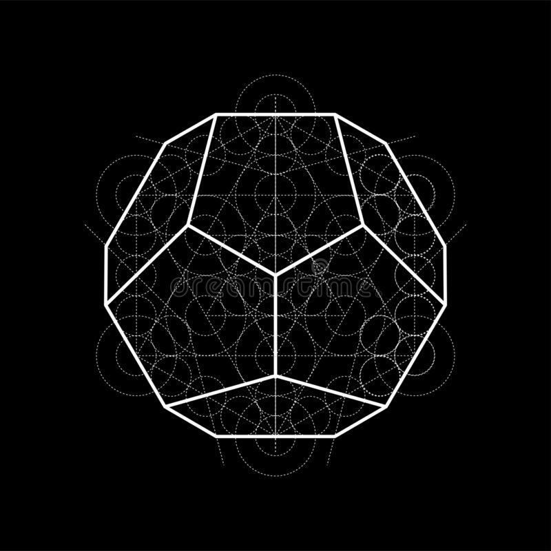 Dodecahedron from Metatrons cube, sacred geometry illustration with construction lines on black stock illustration