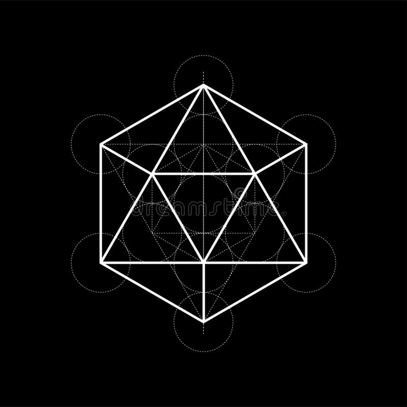 Sacred geometry illustration with construction lines on black background. Sacred geometry illustration on black background stock illustration