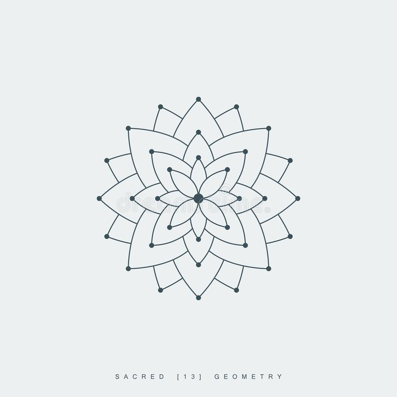 Sacred geometry, lotus flower or flower of life. Line lotus flower or flower of life. sacred geometry. mandala ornament. esoteric or spiritual symbol. isolated royalty free illustration