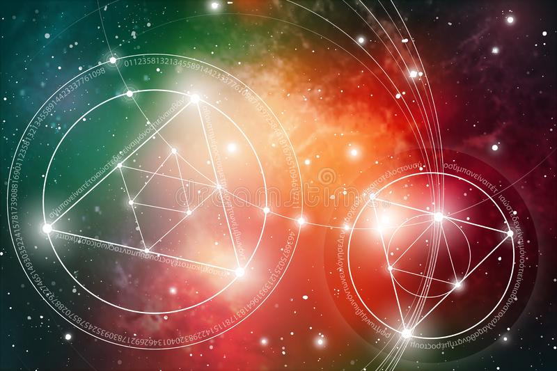 Sacred geometry. Mathematics, nature, and spirituality in Space. The formula of nature. stock image