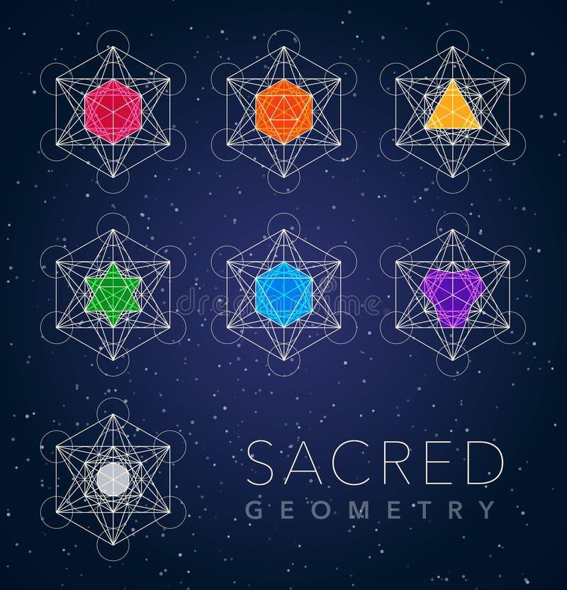 Sacred geometry outline shapes vector symbol set. Sacred geometry bright outline shapes vector symbol set stock illustration