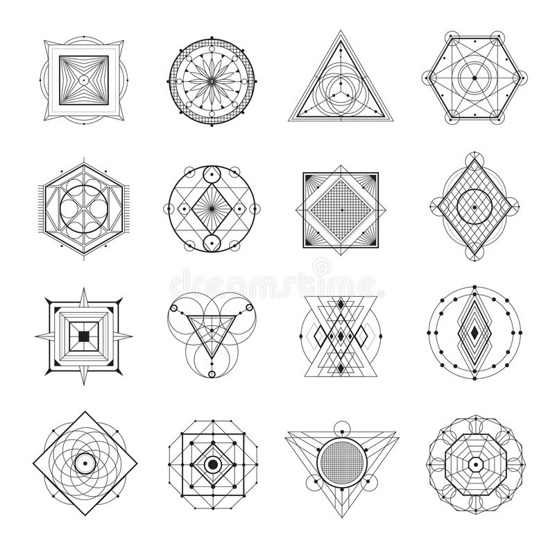 Sacred Geometry Set. Sacred geometry abstract symbols monochrome set isolated on white background flat vector illustration vector illustration