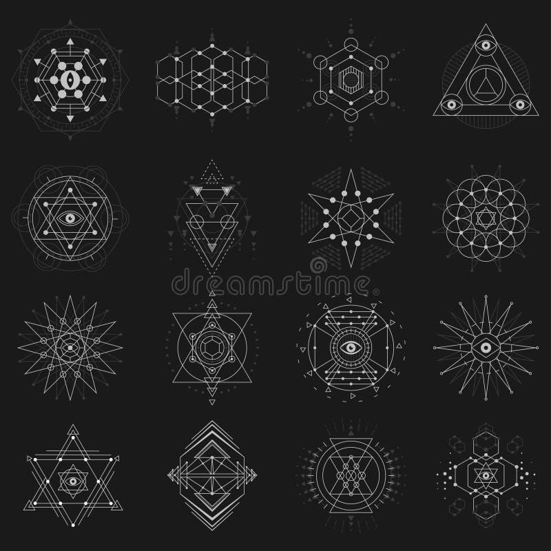 Sacred geometry set on black background stock illustration