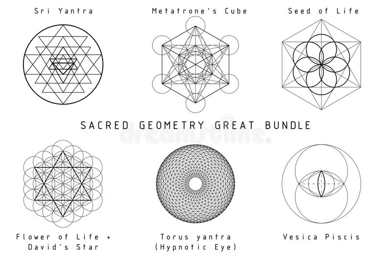 Sacred Geometry Set. Sacred Geometry Great Bundle. Black geometry on white background with titles