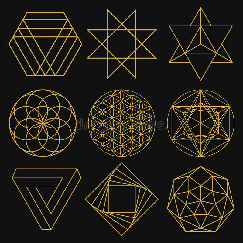 Sacred Geometry. Set of nine figures. Vector illustration. Sacred Geometry. Set of figures with sacred symbols and elements. Vector illustration. Mystical and vector illustration
