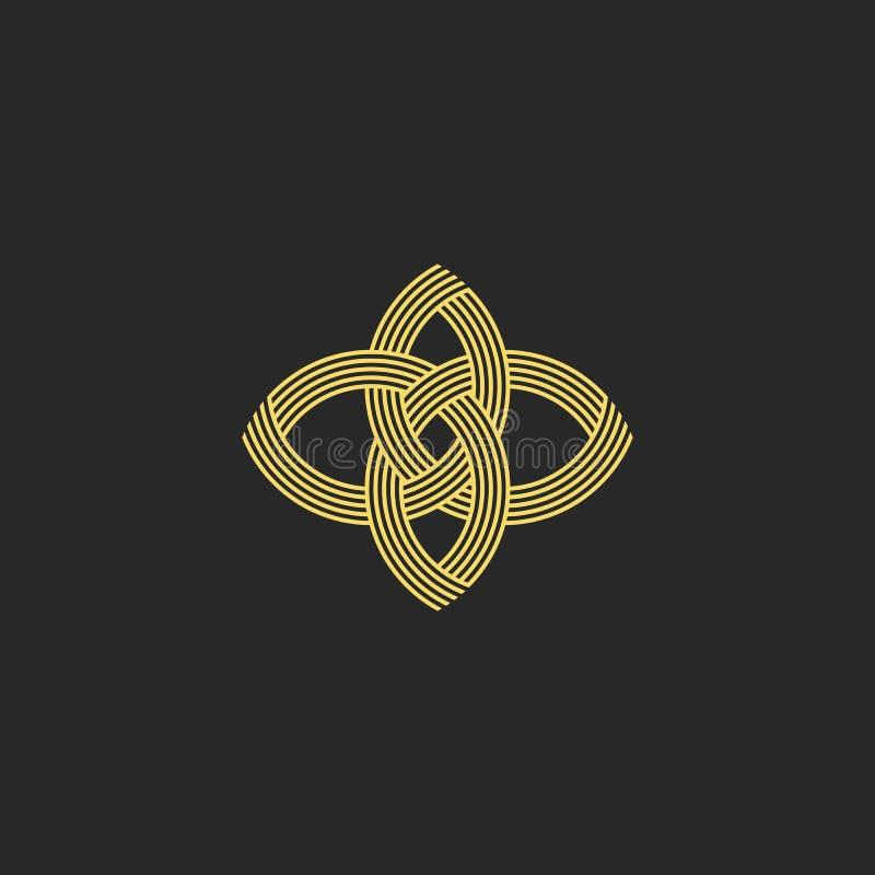 Sacred geometry shape flower logo monogram, intersection line style beauty salon emblem stock illustration