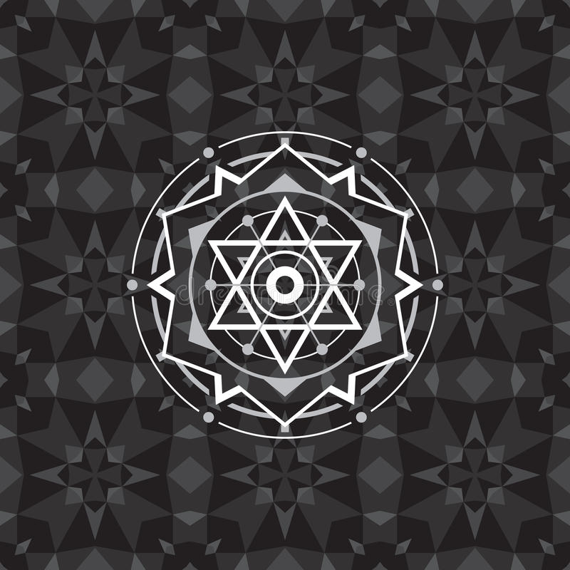 Sacred geometry sign on geometric abstract background. Abstract vector pattern. Mystic badge. Design element.  royalty free illustration