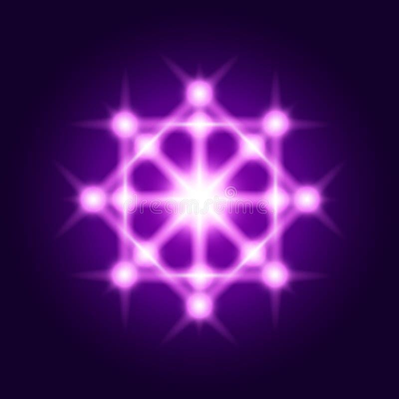 Sacred geometry sign. Vector shine geometrical symbol. Sacred geometry. Vector shine geometrical violet symbol stock illustration
