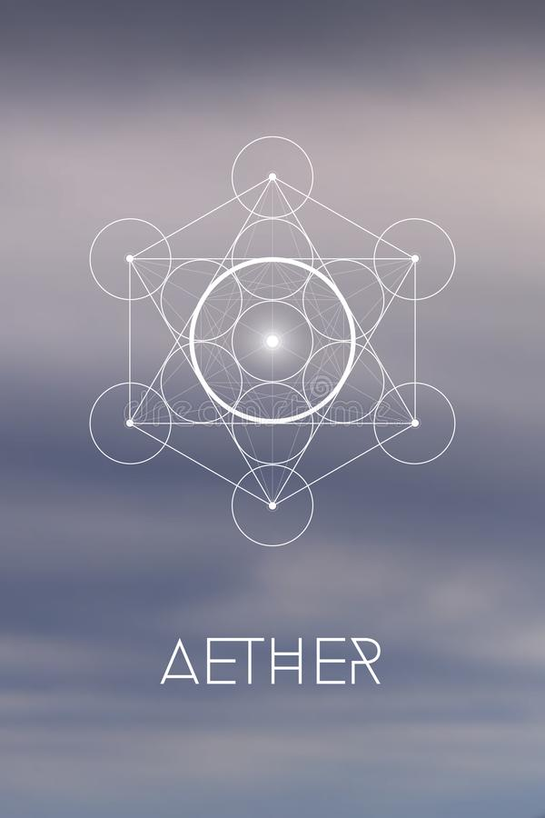 Sacred geometry Spirit or Aether element symbol inside Metatron Cube and Flower of Life in front of natural blurry background royalty free illustration