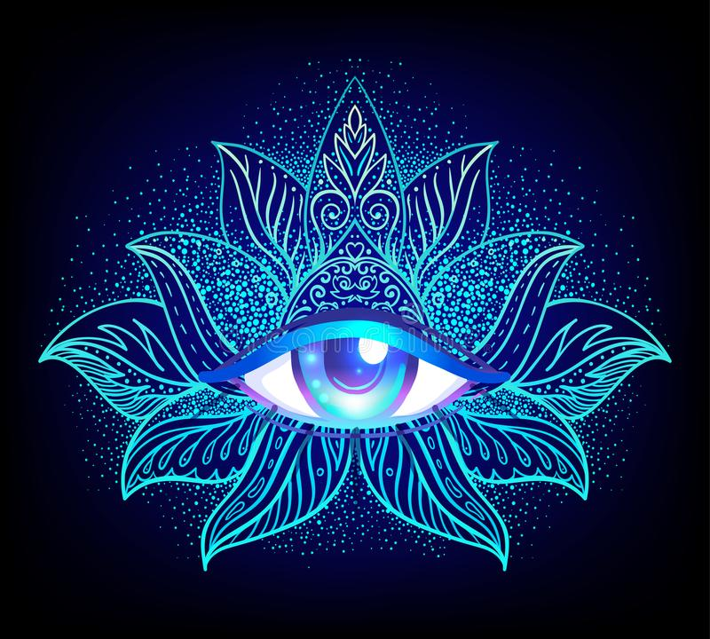 Sacred geometry symbol with all seeing eye over in acid colors. Mystic, alchemy, occult concept. Design for indie music cover, t-shirt print, psychedelic stock illustration