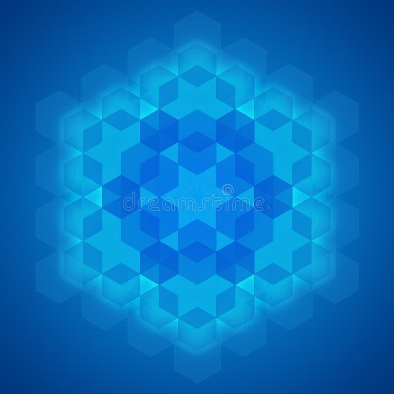Sacred geometry symbol blue background stock illustration