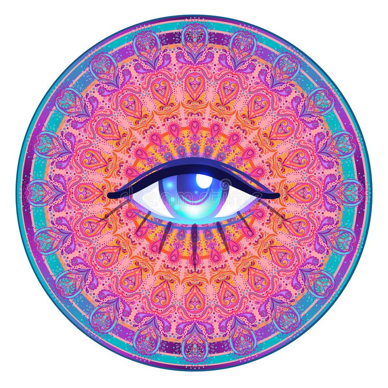 Free Sacred Geometry Symbol With All Seeing Eye In Acid Colors Isolated. Mystic, Alchemy, Occult Concept. Design For Music Royalty Free Stock Photo - 101859985