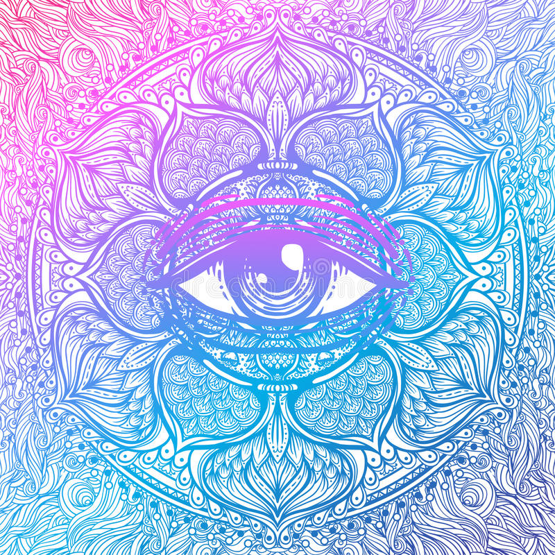 Free Sacred Geometry Symbol With All Seeing Eye In Acid Colors. Mystic, Alchemy, Occult Concept. Design For Indie Music Royalty Free Stock Images - 93028559