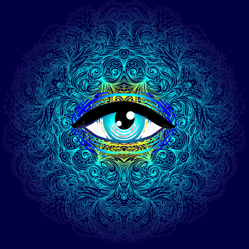 Free Sacred Geometry Symbol With All Seeing Eye In Acid Colors. Mystic, Alchemy, Occult Concept. Design For Indie Music Royalty Free Stock Photos - 93573248
