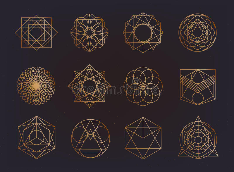 Sacred geometry symbols collection. hipster, abstract, alchemy, spiritual, mystic elements set. royalty free illustration