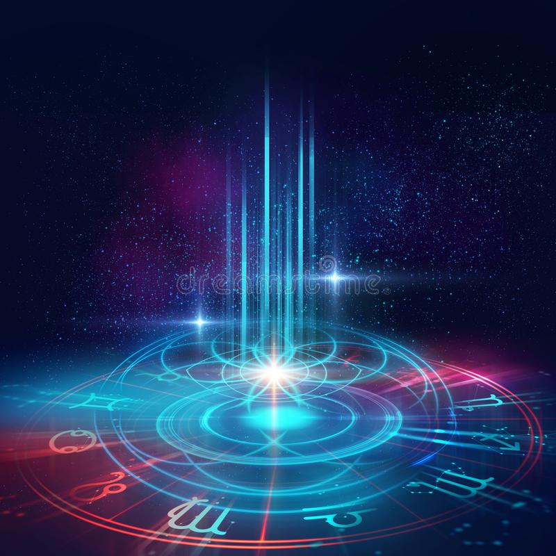 Sacred geometry symbols and elements background. Alchemy, religion, philosophy,. Astrology and spirituality themes. Matter, space and time. Science in Universe stock illustration