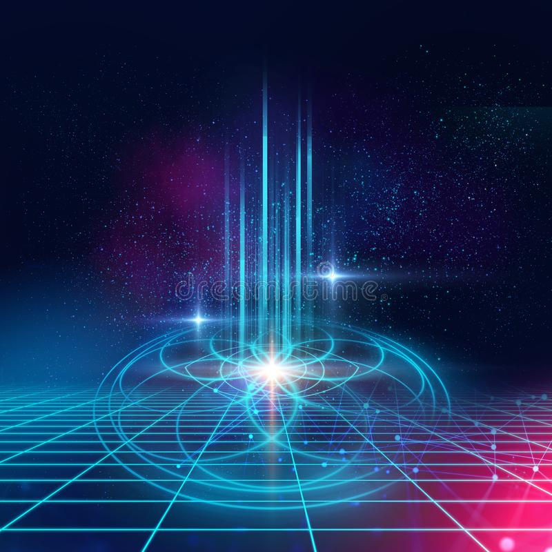 Sacred geometry symbols and elements background. Alchemy, religion, philosophy,. Astrology and spirituality themes. Matter, space and time. Science in Universe royalty free illustration