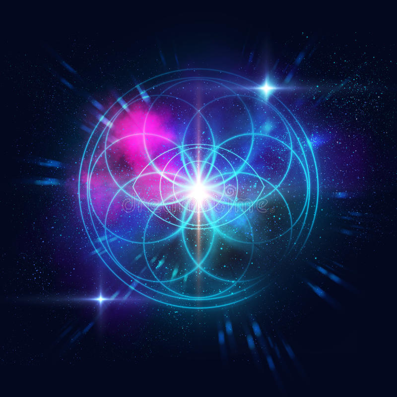 Sacred geometry symbols and elements background. Astrology and spirituality themes. Matter, space and time. Science in Universe. Golden ratio vector illustration