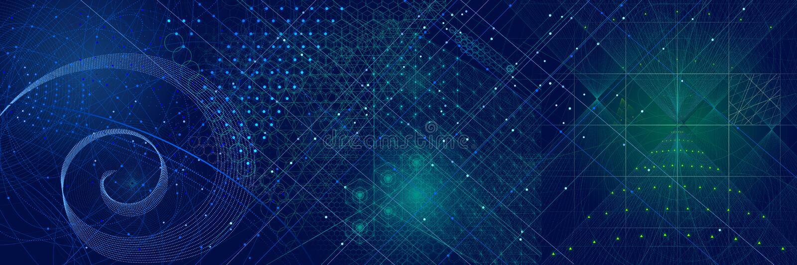 Download Sacred Geometry Symbols And Elements Background Stock Illustration - Illustration: 67253706