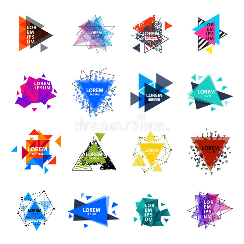 Sacred geometry triangle abstract logo figures elements mystic polygon creative triangulum vector illustration royalty free illustration