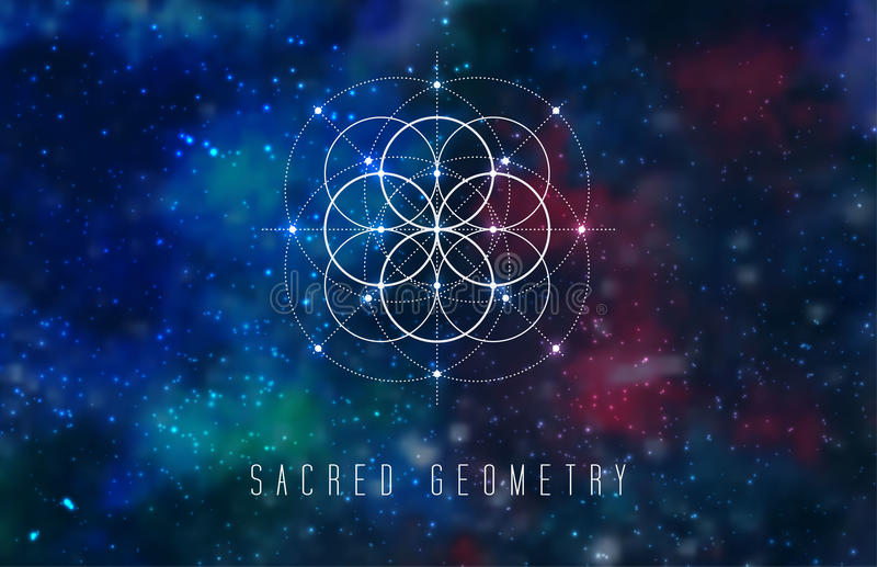 Sacred geometry vector design element on a abstract cosmic background. stock illustration