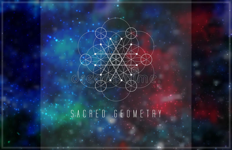Sacred geometry vector design element. Alchemy, hipster sacred symbols on a abstract cosmic background with shining stars and color squares vector illustration
