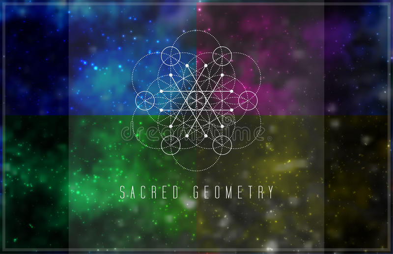 Sacred geometry vector design element. Alchemy, hipster sacred symbols on a abstract cosmic background with shining stars and color squares stock illustration