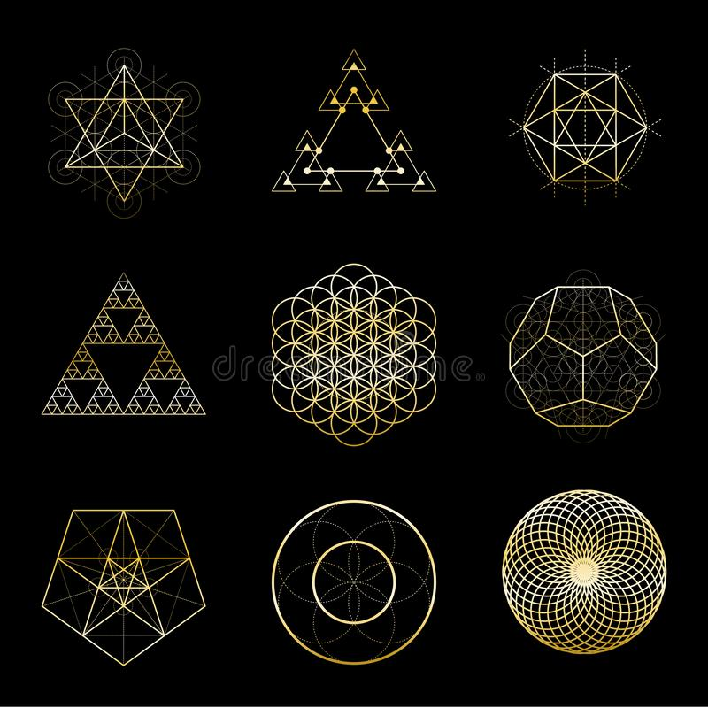 Sacred geometry golden vector design elements collection. Alchemy, religion, philosophy, spirituality, hipster symbols. Sacred geometry vector design elements stock illustration