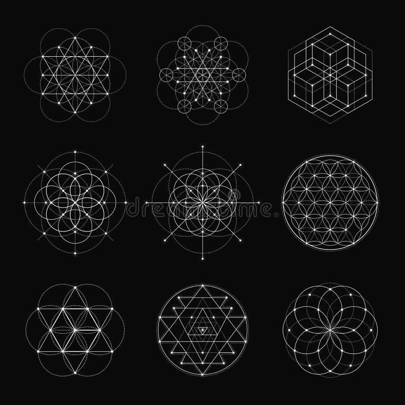 Sacred geometry vector design elements. stock illustration