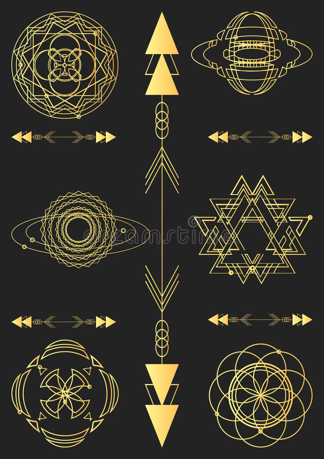 Sacred geometry, vector graphic design elements. Set stock illustration