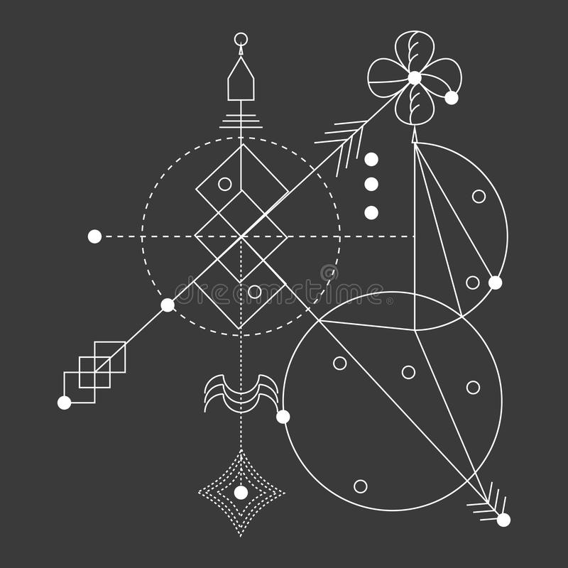 Sacred geometry, vector graphic design elements. stock illustration