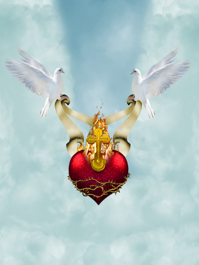 Sacred heart. With doves in sky stock photos