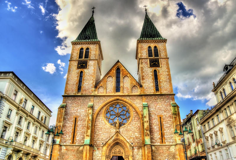 The Sacred Heart Cathedral in Sarajevo. Bosnia and Herzegovina royalty free stock image