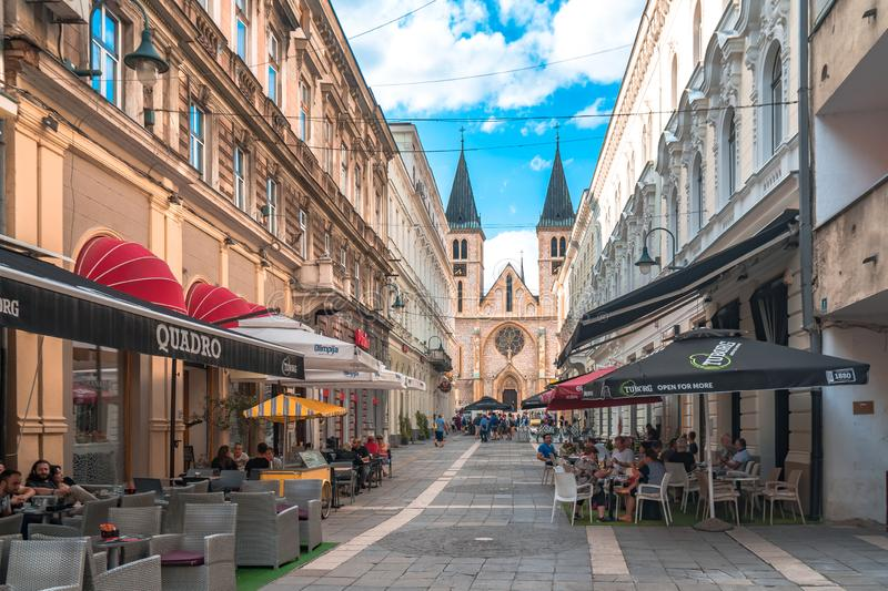 Sacred Heart Cathedral in Sarajevo Streets. SARAJEVO, BOSNIA - AUGUST 3, 2019 : The sacred heart cathedral of Sarajevo The old town is most popular place for royalty free stock images