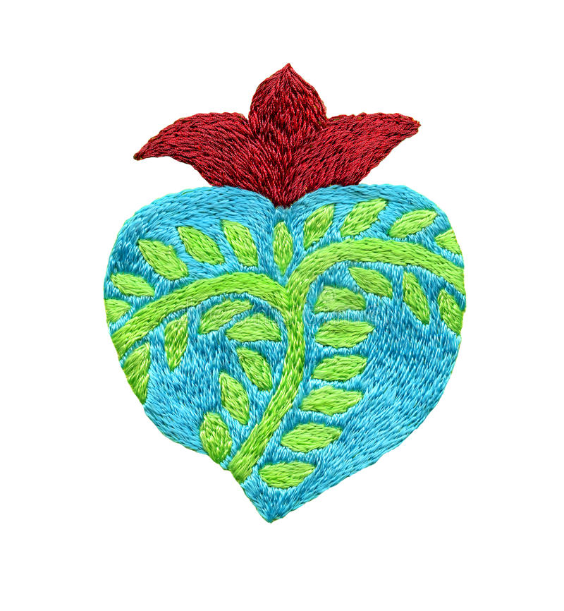 Sacred heart embroidery art on the white background royalty free stock images