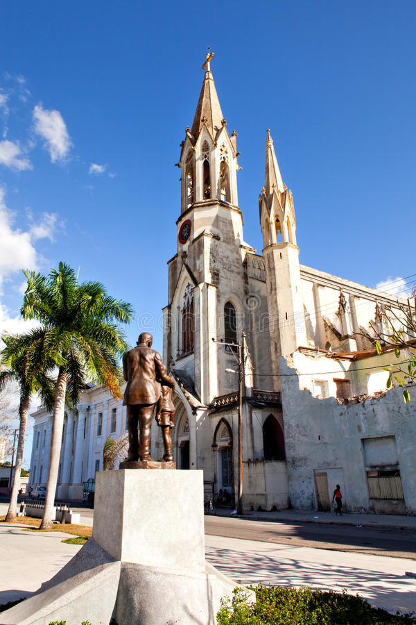 The Sacred Heart of Jesus Cathedral at Marti Park, Camaguey, Cuba royalty free stock photography