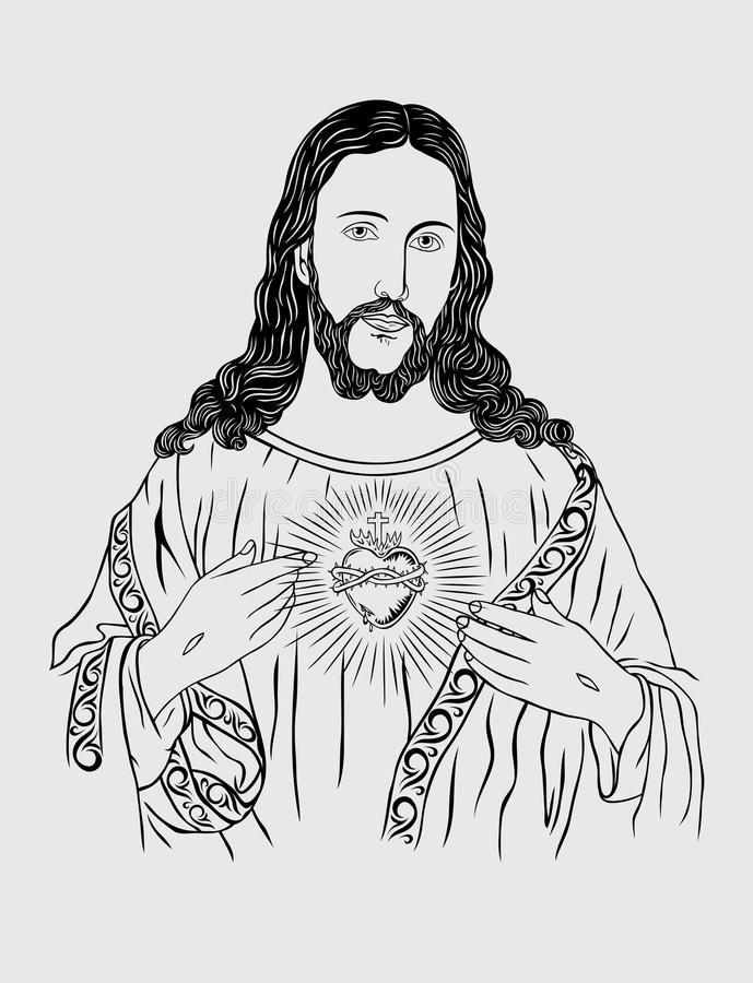 Nice Download Sacred Heart Of Jesus Line Sketch Drawing Stock Vector    Illustration Of Person, People