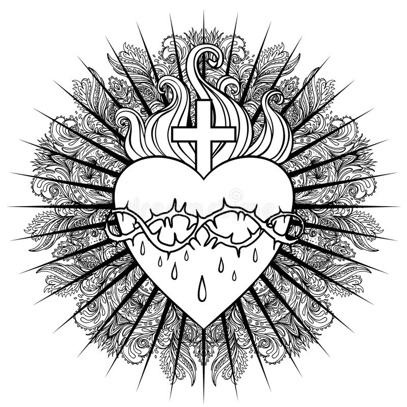 It is a picture of Shocking Sacred Heart Drawing