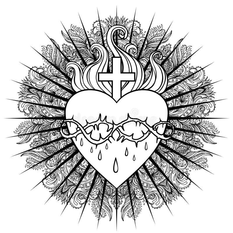 Sacred Heart of Jesus. Vector illustration isolated on white over mandala background. Vintage style element. Spirituality, occult royalty free illustration