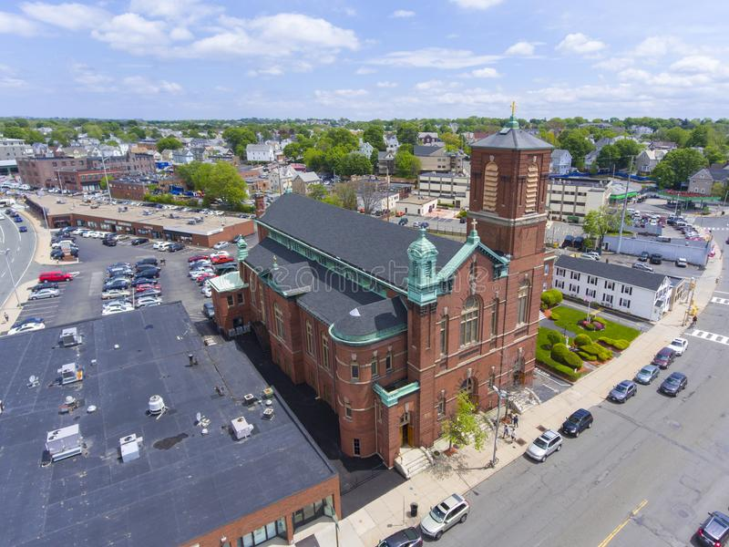 Sacred Heart Rectory Church, Malden, MA, USA. Aerial view Sacred Heart Rectory Church in downtown Malden, Massachusetts, USA stock image