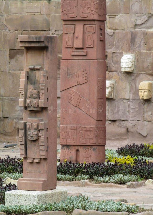 Sacred idol statue from Tiwanaku stock image