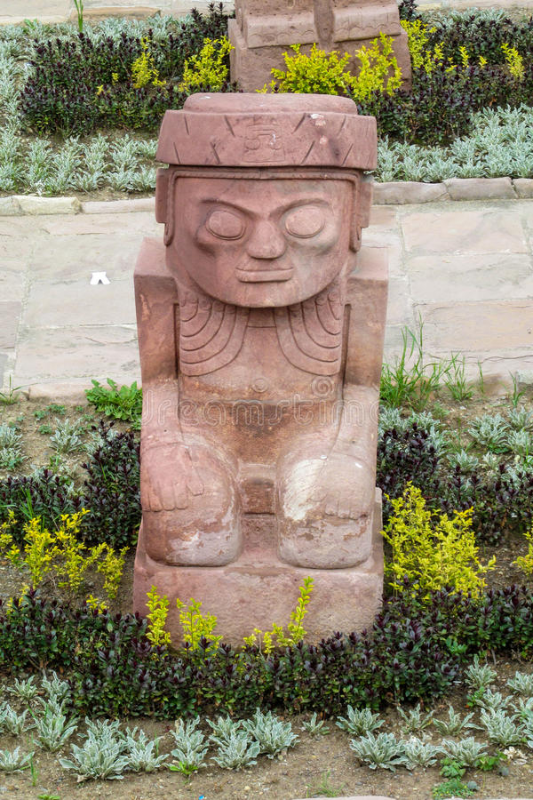 Sacred idol from Tiwanaku. Ancient idol statues, sculptures from Tiwanaku inca archaeological site on the square in La Paz, Bolivia royalty free stock photo