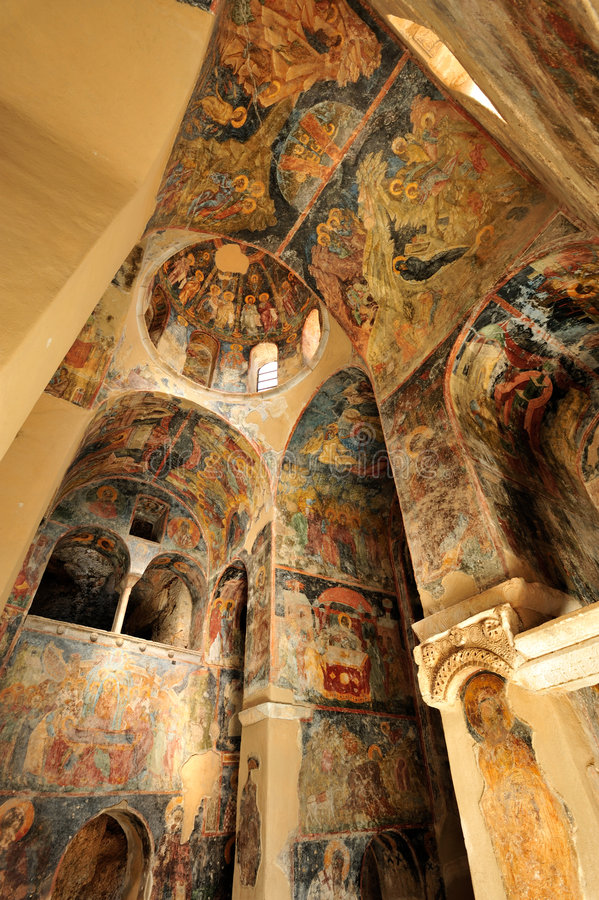 Sacred images. Interior view of the sacred images of PeriBleptos Byzantine monastery of the 13th century in Mistras royalty free stock photography