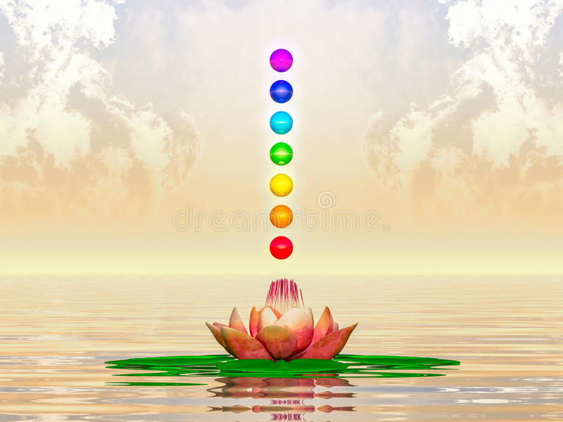 Sacred Lotus And Chakra Spheres. Illustration of a sacred lotus and chakra spheres royalty free illustration